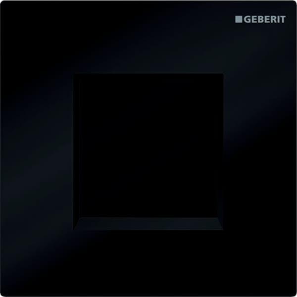 Krmiljenje Geberit za pisoarje z elektronskim aktiviranjem splakovanja delovanje na baterije pokrivna plosca Tip30 crna sijajni krom crna