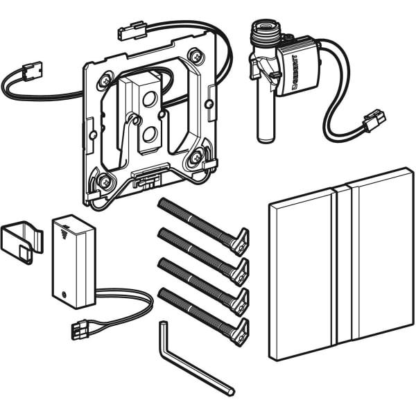Krmiljenje Geberit za pisoarje z elektronskim aktiviranjem splakovanja delovanje na baterije pokrivna plosca Tip50 1