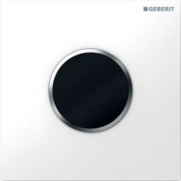 Krmiljenje Geberit za pisoarje z elektronskim aktiviranjem splakovanja delovanje na baterije pokrivna plosca tip 10 bela mat krom mat krom