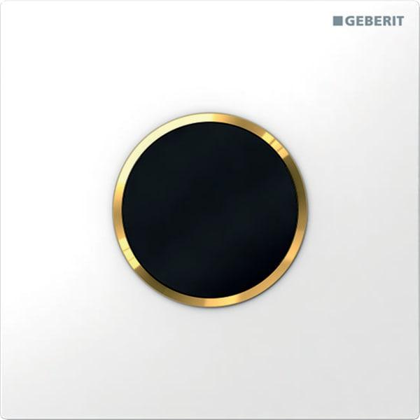 Krmiljenje Geberit za pisoarje z elektronskim aktiviranjem splakovanja delovanje na baterije pokrivna plosca tip 10 bela pozlacena bela