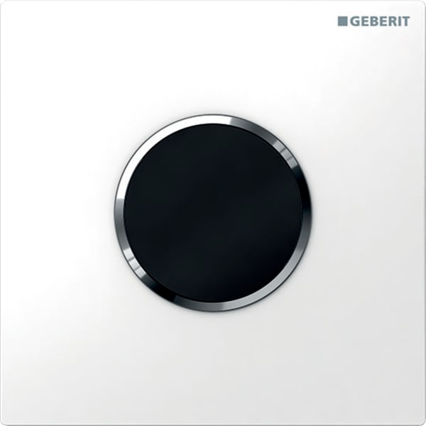 Krmiljenje Geberit za pisoarje z elektronskim aktiviranjem splakovanja delovanje na baterije pokrivna plosca tip 10 bela sijajni krom bela