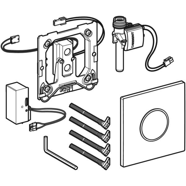 Krmiljenje Geberit za pisoarje z elektronskim aktiviranjem splakovanja omrezno delovanje pokrivna plosca Tip10 1