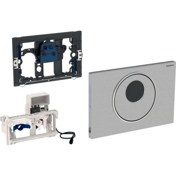 Krmiljenje WC-ja z elektronskim aktiviranjem splakovanja Geberit, omrežno delovanje, dvokoličinsko splakovanje, aktivirna tipka Sigma10, samodejno/brez dotika/ročno, za Sigma, 8 cm