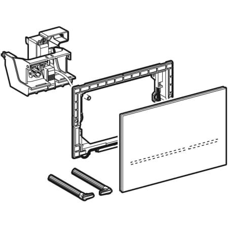 Krmiljenje WC ja z elektronskim aktiviranjem splakovanja Geberit omrezno delovanje dvokolicinsko splakovanje aktivirna tipka Sigma80 brez dotika