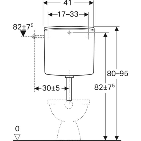 Nadometni splakovalnik Geberit AP140, dvokoličinsko splakovanje