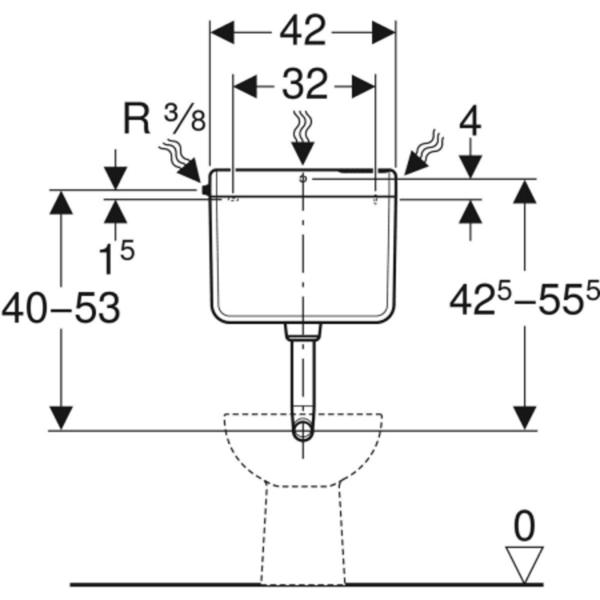 Nadometni splakovalnik Geberit AP112, start stop splakovanje, priključek vode s strani ali zadaj na sredini