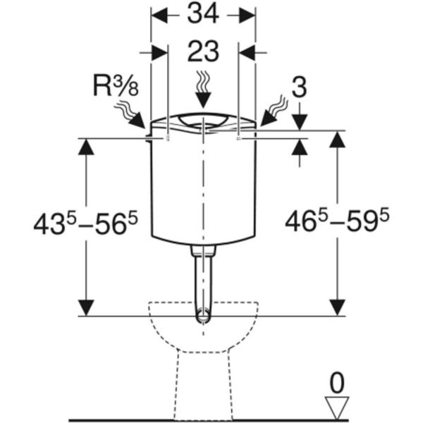 Nadometni splakovalnik Geberit AP116, dvokoličinsko splakovanje