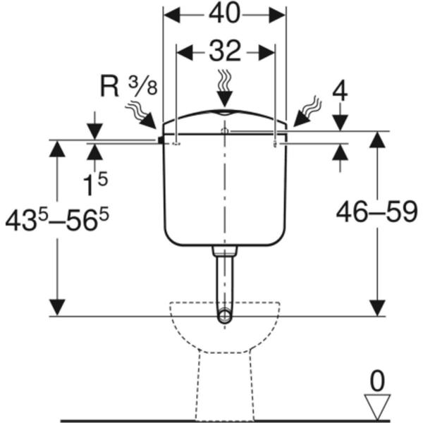 Nadometni splakovalnik Geberit AP117, dvokoličinsko splakovanje, priključek vode s strani ali zadaj na sredini