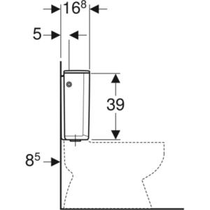 Nadometni splakovalnik Geberit AP128, dvokoličinsko splakovanje, priključek vode s strani
