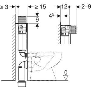 Podometni splakovalnik Geberit Omega 12 cm, 6 in 3 l, vgradna višina 82 cm