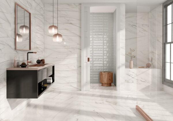 Dekorativna stenska keramična ploščica Dozza White 400x1200