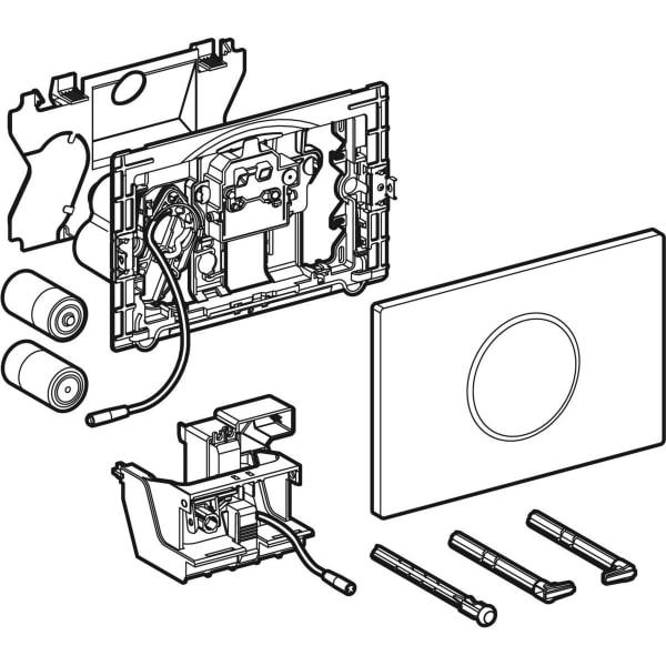 Upravljanje WC ja z elektronskim aktiviranjem splakovanja Geberit delovanjem na baterije dvokolicinskim splakovanjem aktivirno tipko Sigma10 samodejno brez dotika 2