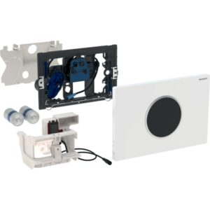 Upravljanje WC-ja z elektronskim aktiviranjem splakovanja Geberit, delovanjem na baterije, dvokoličinskim splakovanjem, aktivirno tipko Sigma10, samodejno brez dotika-2