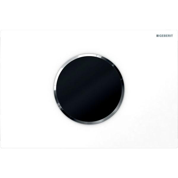 Upravljanje WC-ja z elektronskim aktiviranjem splakovanja Geberit, delovanjem na baterije, dvokoličinskim splakovanjem, aktivirno tipko Sigma10, samodejno brez dotika bela sijajni krom