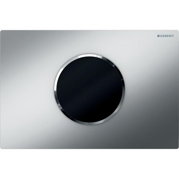 Upravljanje WC-ja z elektronskim aktiviranjem splakovanja Geberit, delovanjem na baterije, dvokoličinskim splakovanjem, aktivirno tipko Sigma10, samodejno/brez dotika, mat krom/sijajni krom