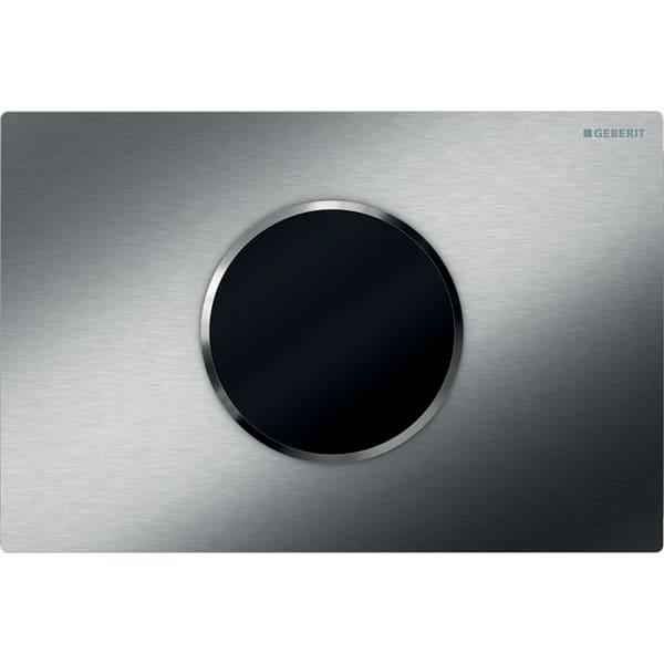 Upravljanje WC-ja z elektronskim aktiviranjem splakovanja Geberit, delovanjem na baterije, dvokoličinskim splakovanjem, aktivirno tipko Sigma10, samodejno/brez dotika, nerjavno jeklo ščetkano/polirano/ščetkano