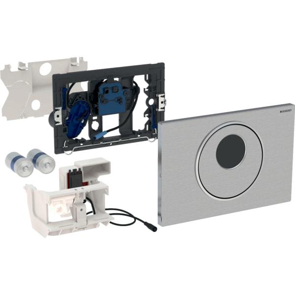 Upravljanje WC-ja z elektronskim aktiviranjem splakovanja Geberit, delovanjem na baterije, dvokoličinskim splakovanjem, aktivirno tipko Sigma10, samodejno brez dotika ročno