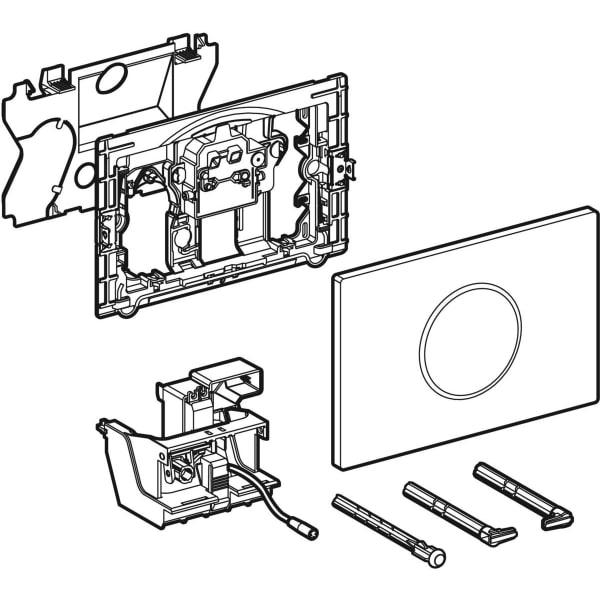 Upravljanje WC-ja z elektronskim aktiviranjem splakovanja Geberit, omrežnim delovanjem, dvokoličinskim splakovanjem, aktivirno tipko Sigma10, samodejno brez dotika,