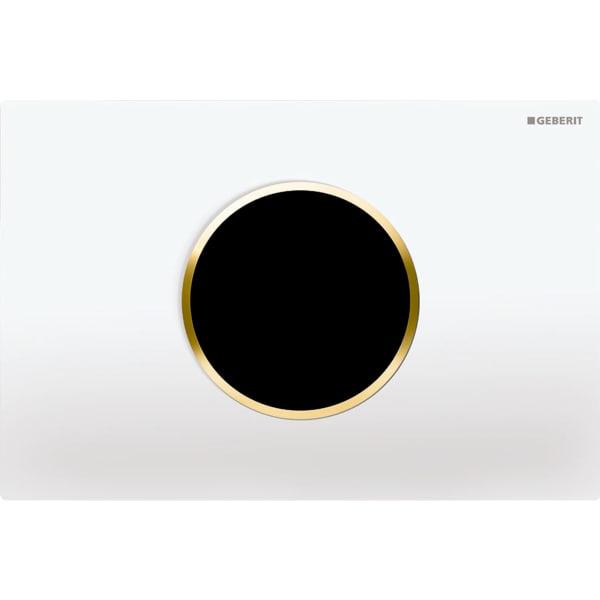 Upravljanje WC-ja z elektronskim aktiviranjem splakovanja Geberit, omrežnim delovanjem, dvokoličinskim splakovanjem, aktivirno tipko Sigma10, samodejno/brez dotika, bela/pozlačena