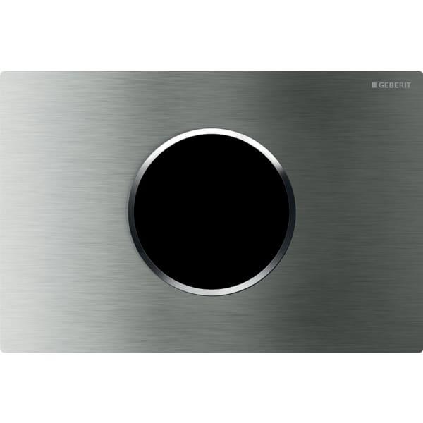 Upravljanje WC-ja z elektronskim aktiviranjem splakovanja Geberit, omrežnim delovanjem, dvokoličinskim splakovanjem, aktivirno tipko Sigma10, samodejno/brez dotika, nerjavno jeklo ščetkano/polirano/ščetkano