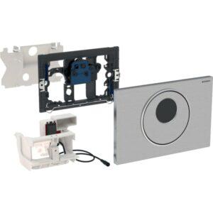 Upravljanje WC-ja z elektronskim aktiviranjem splakovanja Geberit, omrežnim delovanjem, dvokoličinskim splakovanjem, aktivirno tipko Sigma10, samodejno/brez dotika/ročno, za Sigma, 12 cm
