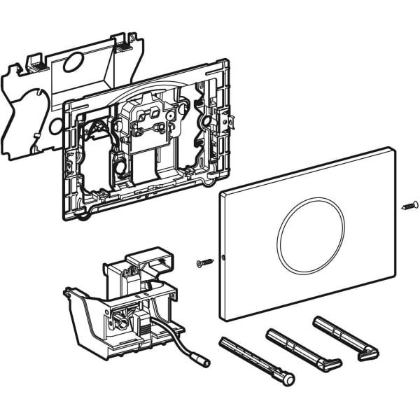 Upravljanje WC ja z elektronskim aktiviranjem splakovanja Geberit omreznim delovanjem dvokolicinskim splakovanjem aktivirno tipko Sigma10 samodejno brez dotika s privitjem 1