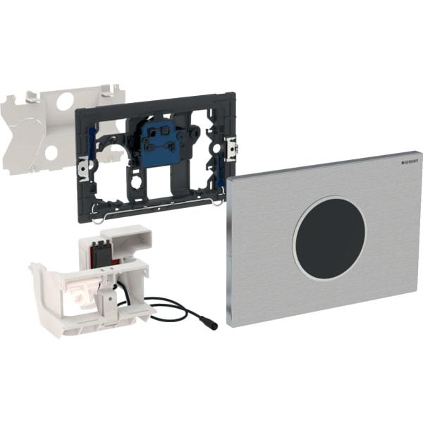 Upravljanje WC-ja z elektronskim aktiviranjem splakovanja Geberit, omrežnim delovanjem, dvokoličinskim splakovanjem, aktivirno tipko Sigma10, samodejno/brez dotika, s privitjem
