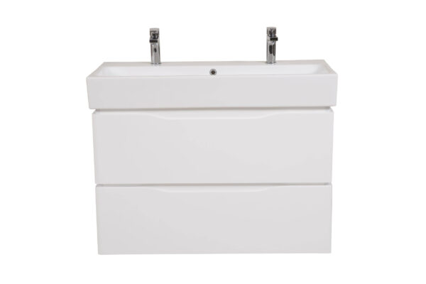 Omarica z umivalnikom Venice 100 bela stenska za 2 armaturi 1