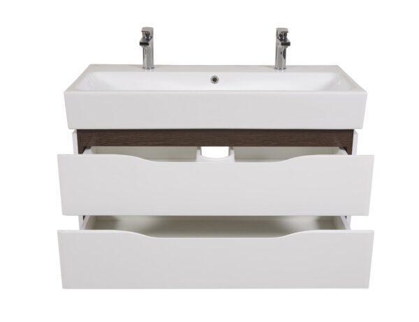 Omarica z umivalnikom Venice 100 wenge stenska za 2 armaturi 3
