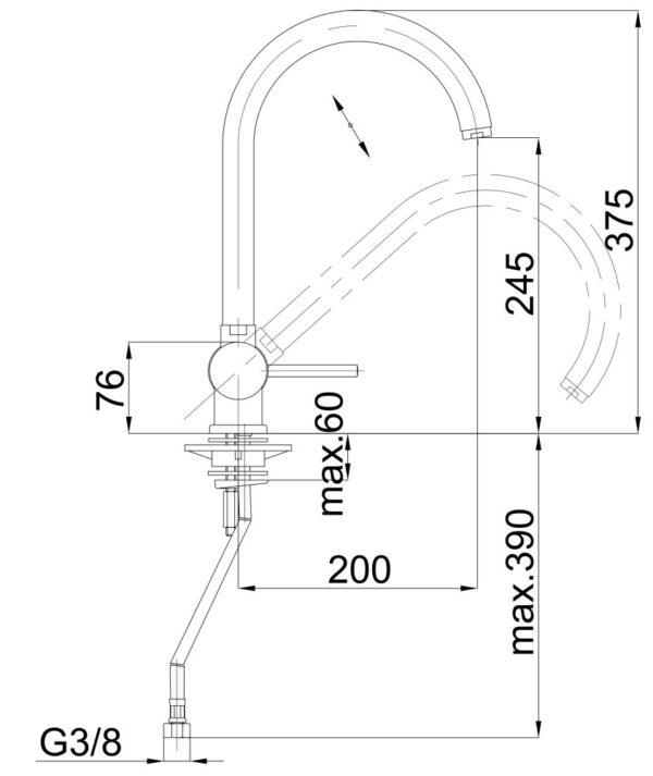Armatura za kuhinjo pregibna Infinity f22 1