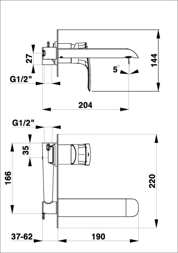 Podometna armatura za umivalnik Elite e80B 1