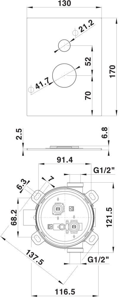 Rozeta rocka in podometna mesalna armatura za kad ali dve prhi SQ 00361 1