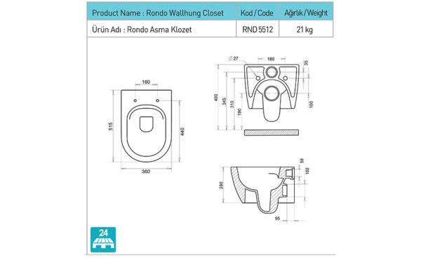 WC skoljka Rondo Rimless 1