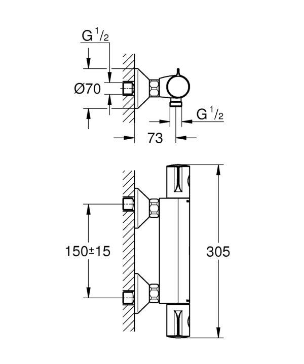 Armatura za prho Grohe Grohtherm 800 THM 1