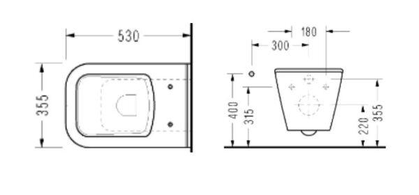 WC skoljka Concepto Diagonal viseca 4