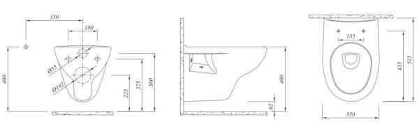WC skoljka Concepto Simple rimless viseca 4